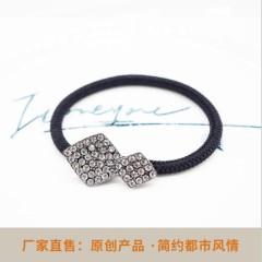2018新款韓版頭繩扣發繩 個性時尚優雅皮筋 黑色無縫頭飾發圈批發