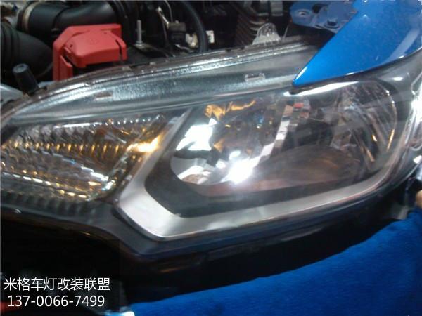 昆明车灯改装升级本田飞度升级q5双光透镜双色led天使